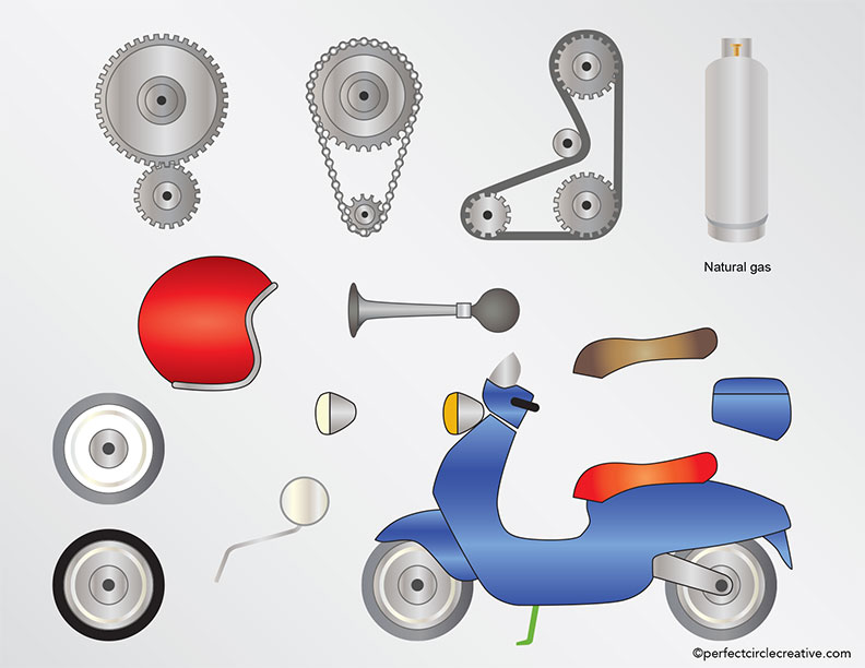 Scooter illustration with component parts.