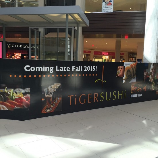 Tiger Sushi construction barrier at Ridgedale.