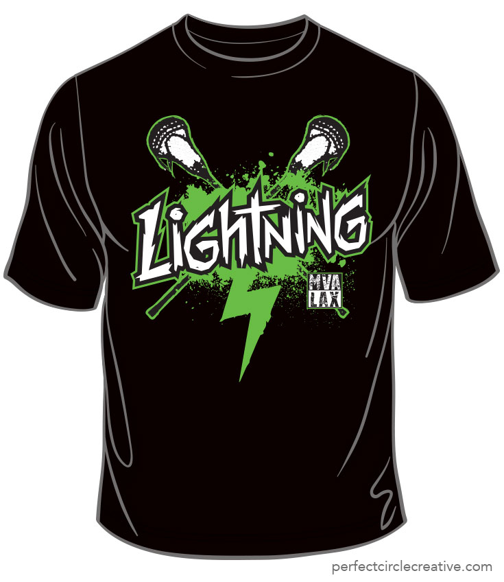 Lightning LaCross Team t-shirt design.