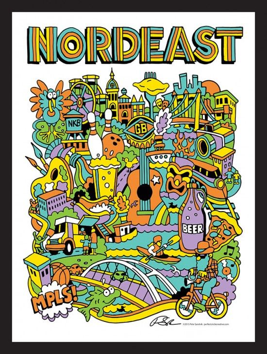 Pop Art Poster design of Northeast Minneapolis.