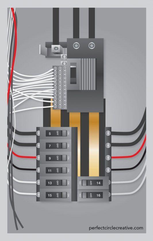 Vector illustration of a breaker panel.